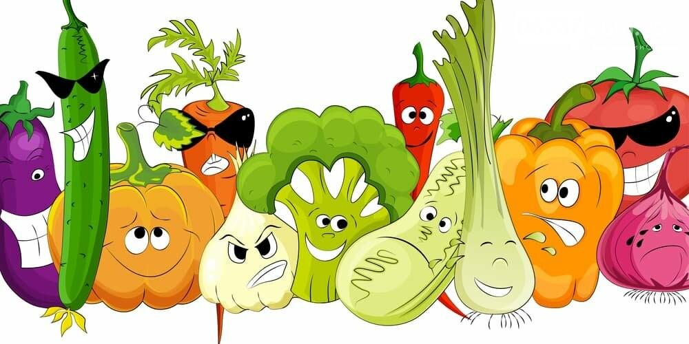 Веселые рисунки с фруктами и овощами, учителя музыкальные
